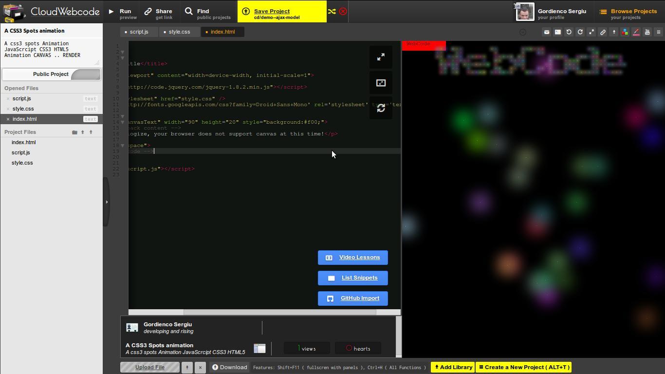 CloudWebCode - Online HTML/JS/CSS template editor